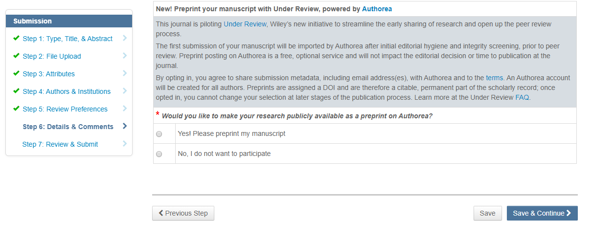 Under Review opt-in question