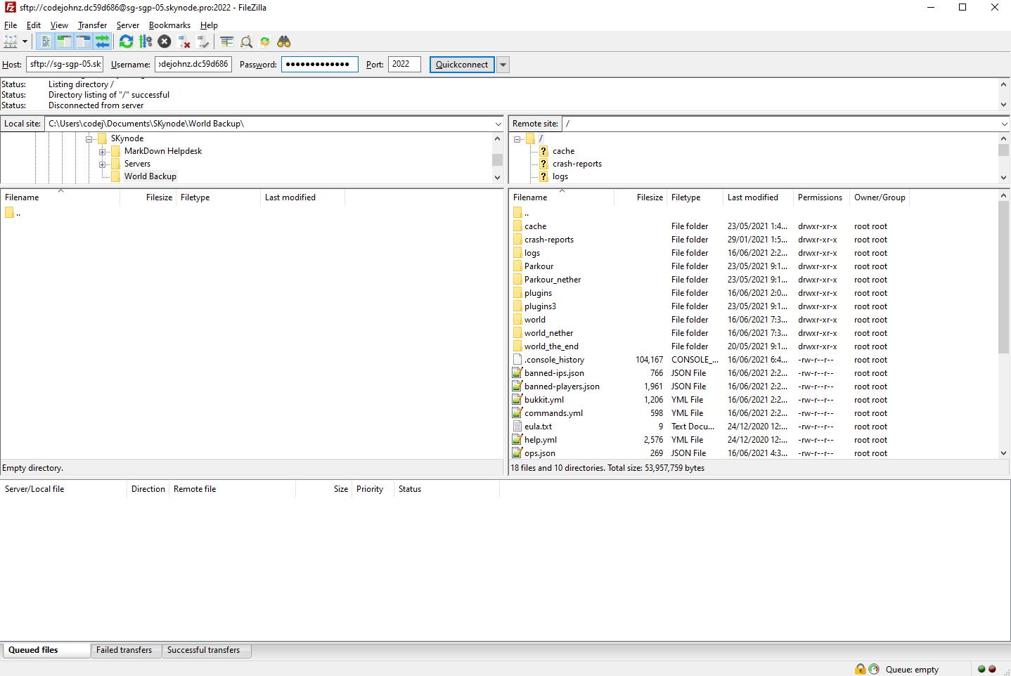 Ejemplo de un servidor de archivos, si los tuyos son diferentes, no te preocupes