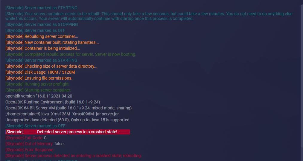 The error looks like this
