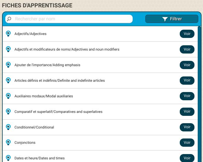 Exemple de liste de fiches