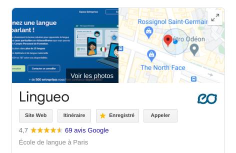 Lingueo sur Google Avis