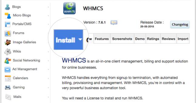 Installing WHMCS through Softaculous 3