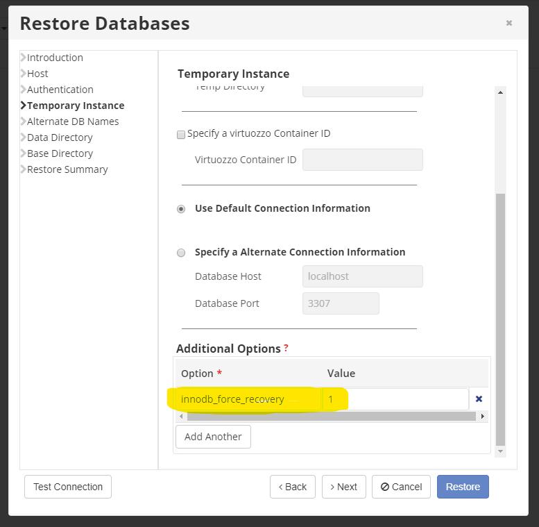 R1Soft - MySQL Restores Failing 2