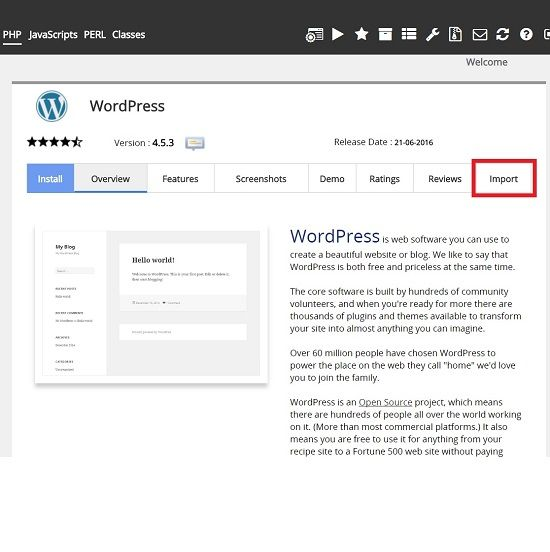 Migrate a WordPress site from a remote server using Softaculous Remote Import 3