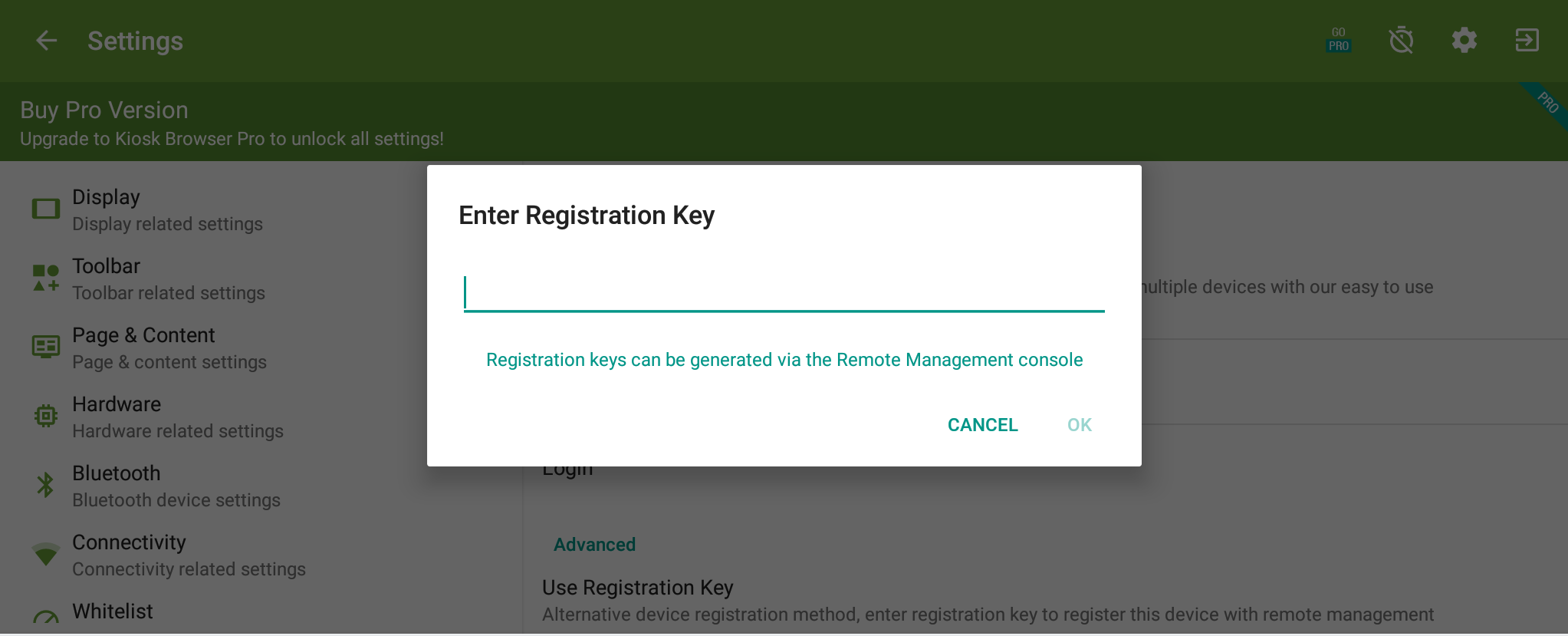 Enter Registration Key Dialog in Kiosk Browser