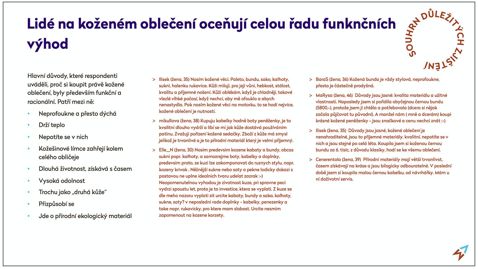 Ukázka jednoho zjištění z diskuze o kožené módě.