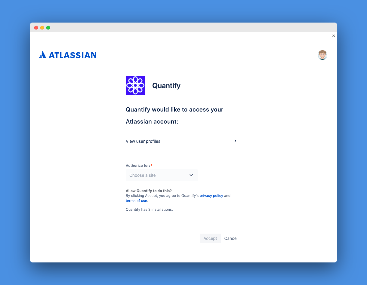 Authentication with the Atlassian account