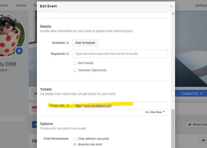 Enter your ticket URL manually by editing your event