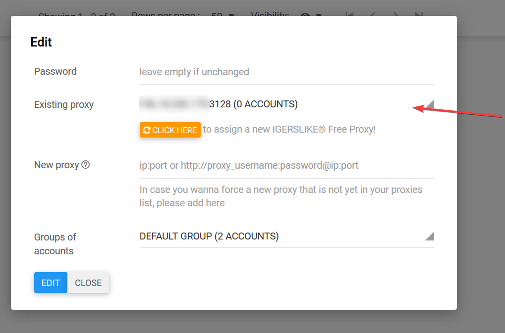 A Modal will open, and you can choose a proxy from the drop-down