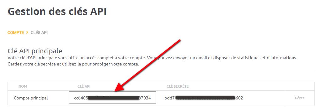 Gestion des clés d'API mailjet