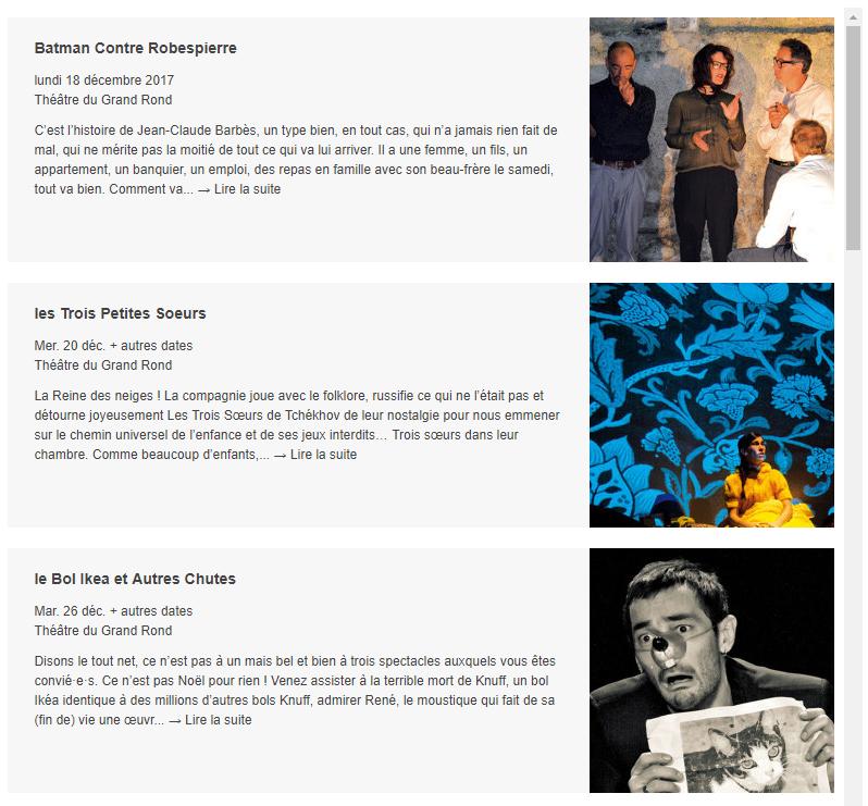 Liste des événements embarquée du théâtre du grand rond