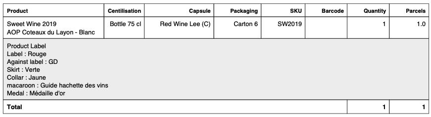 Exemple sur un bon de préparation pour l'export