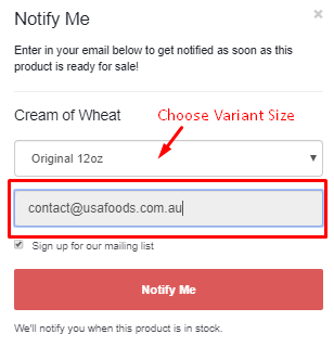 Enter your email address and choose your variant size