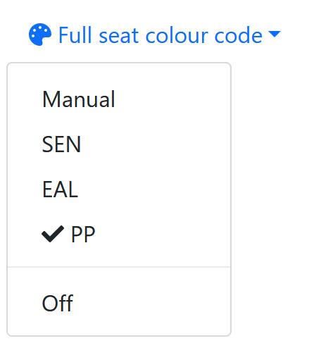 Full seat colour code menu