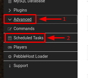 Go to Scheduled Tasks in the side-menu of Multicraft
