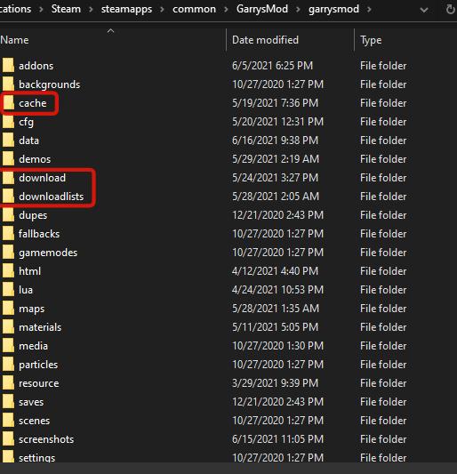 Folders to delete