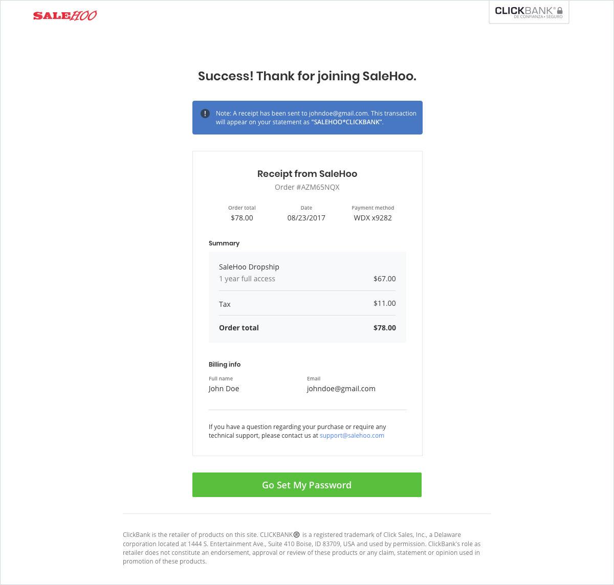 Example of a SaleHoo receipt