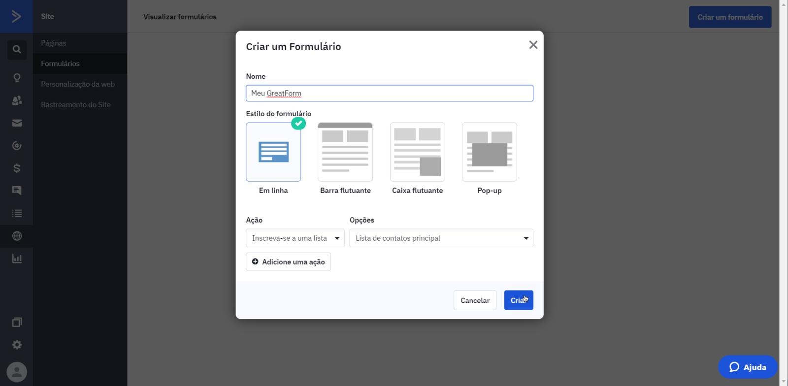criar formulario