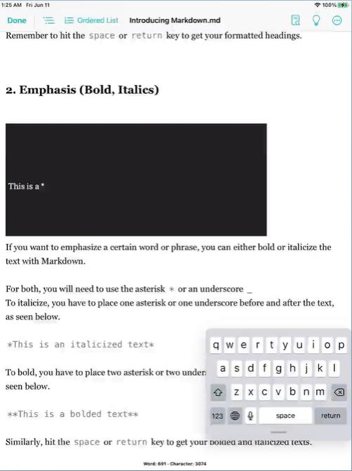 JotterPad iPad Editor Interface