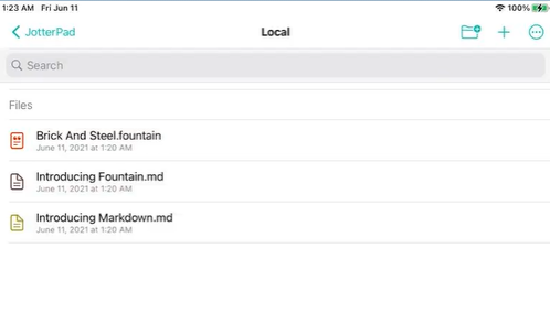 JotterPad iPad Main Screen Interface