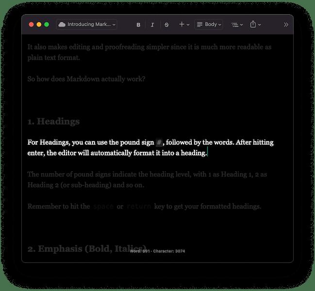 A screenshot of typewriter mode in JotterPad Mac.