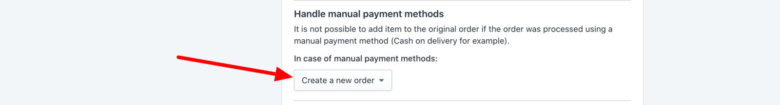 Handle manual payment methods