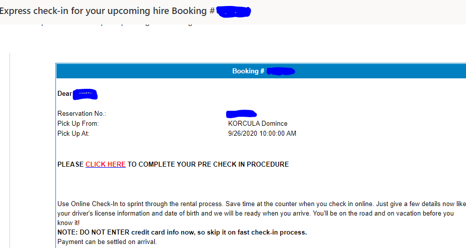 Express check-in email