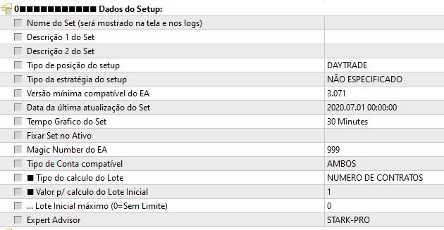 Dados do Setup