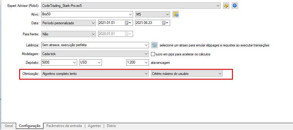 Tela de configuração do Backtest e Otimização.