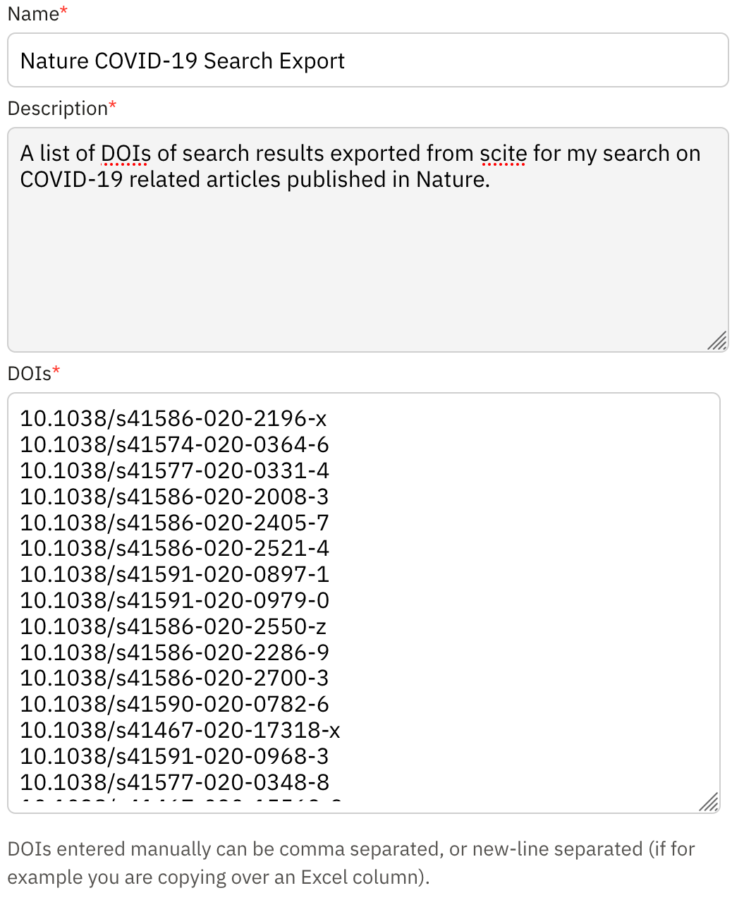 Screenshot from the Create Custom Dashboard form filled out with the DOIs from our exported search results. Note that the DOIs can be either comma separated or new-line separated.