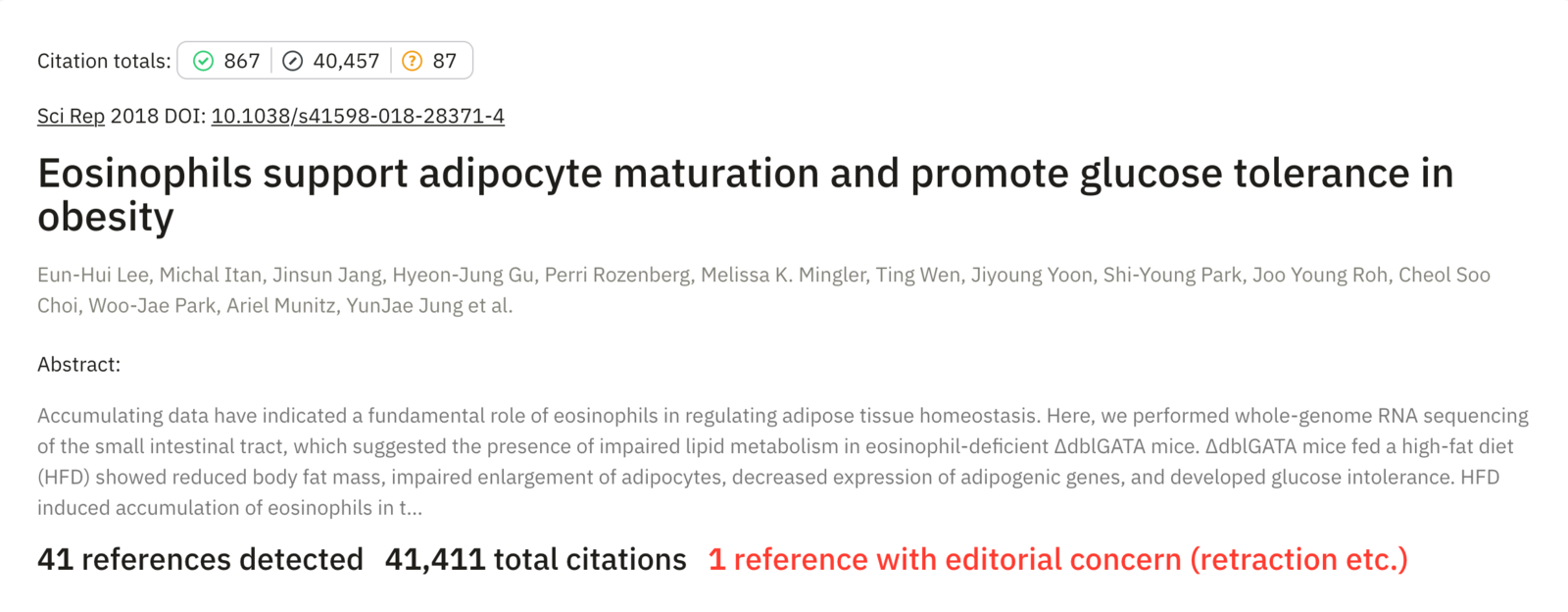 "Reference Check generated for a sample manuscript entitled ""Eosinophils support adipocyte maturation and promote glucose tolerance in obesity."""