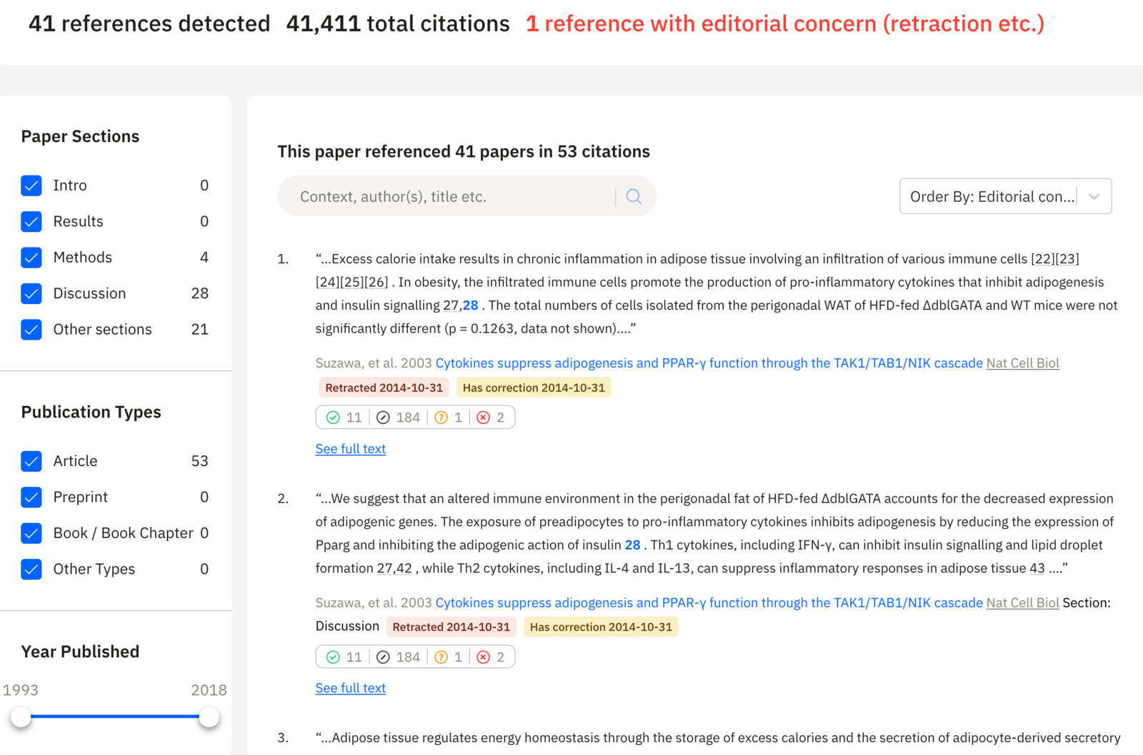 Reference Check output showing how the uploaded manuscript cites each of its references, along with other information about each reference (editorial notices, highly disputed, and so on).