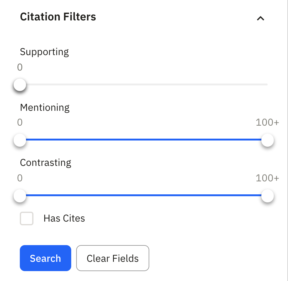 Example of citation filters for no supporting citations
