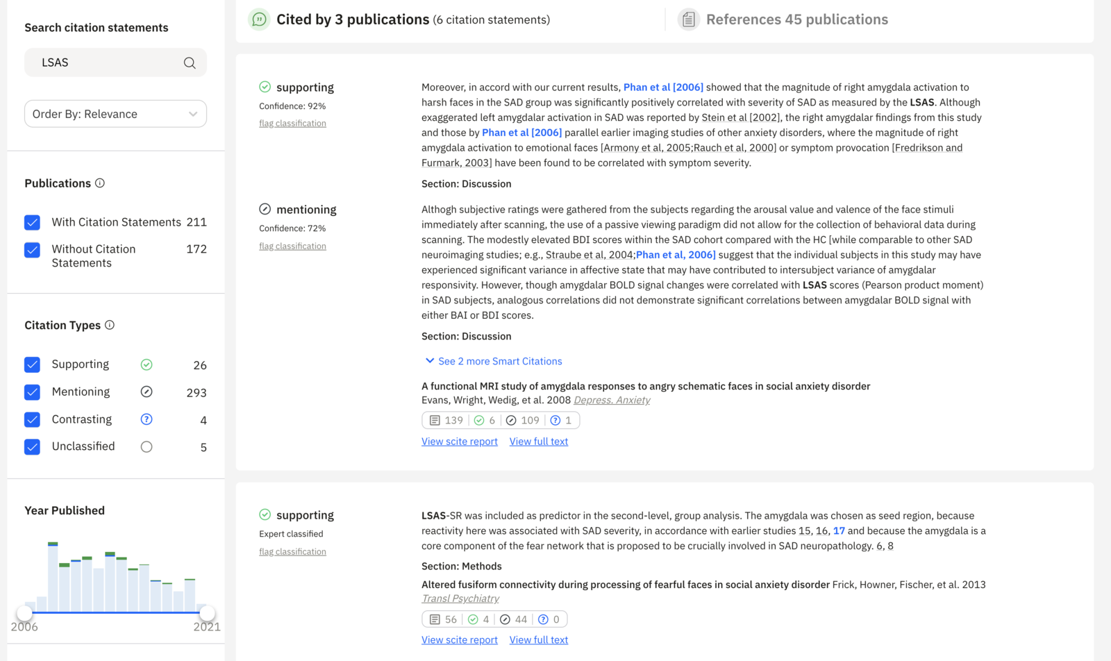 Example 6: Searching citation statements for discussion of the LSAS