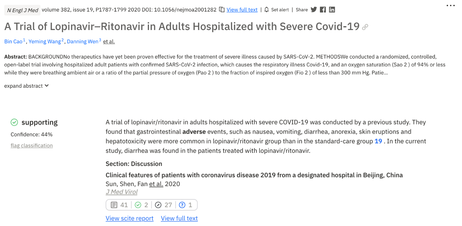 """Figure 3. An example showing how the main paper """"A trial of Lopinavir-Ritonavir…"""" was referenced in the discussion section of """"Clinical features of patients with coronavirus…"""". The citing paper by Sun et al. describes adverse events that Cao et al. observed in the experimental group of their study."""