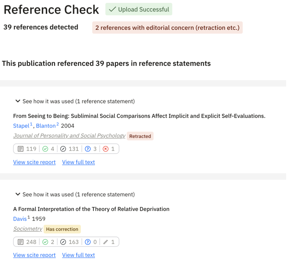 Figure 4. An example Reference Check report for a manuscript. You can immediately identify references that were retracted, or had some sort of editorial notice, and more, to ensure you cite reliable research.