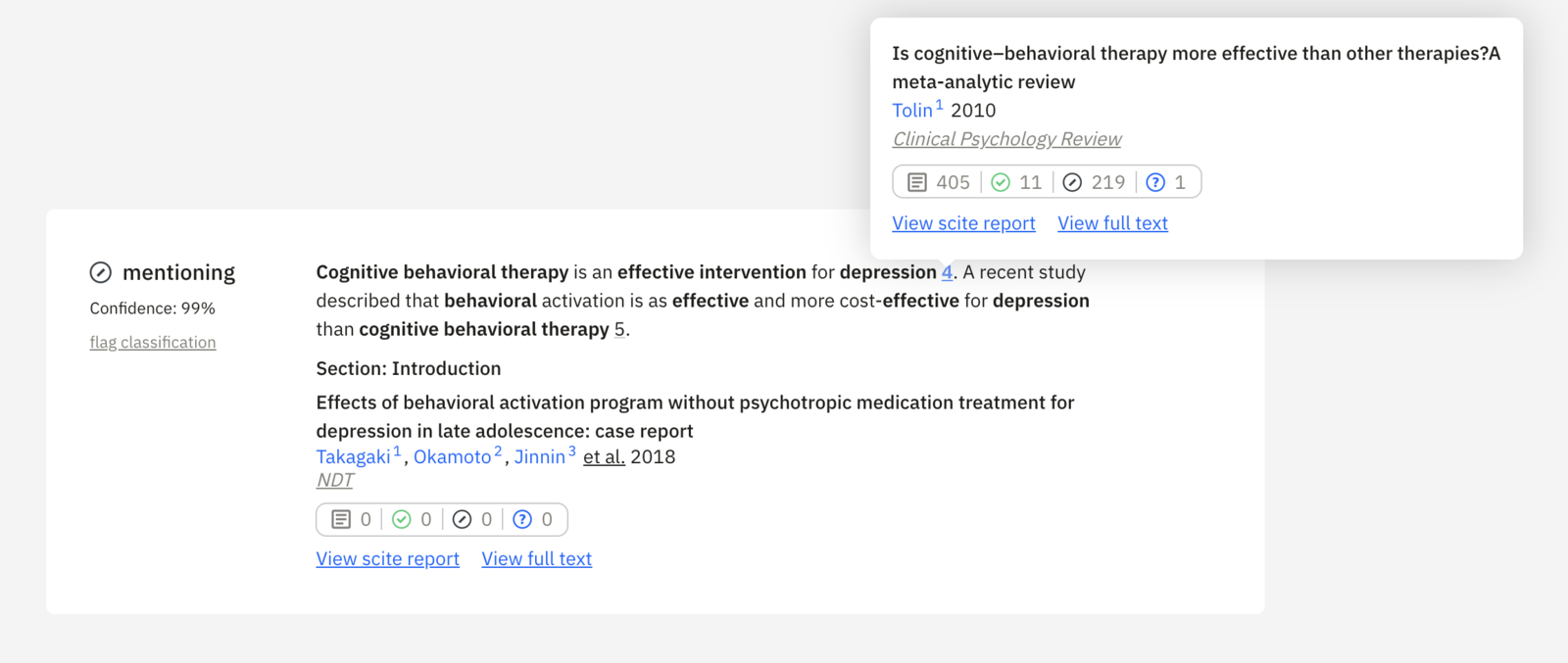 """A search result for """"Cognitive behavioral therapy is an effective intervention for depression"""""""