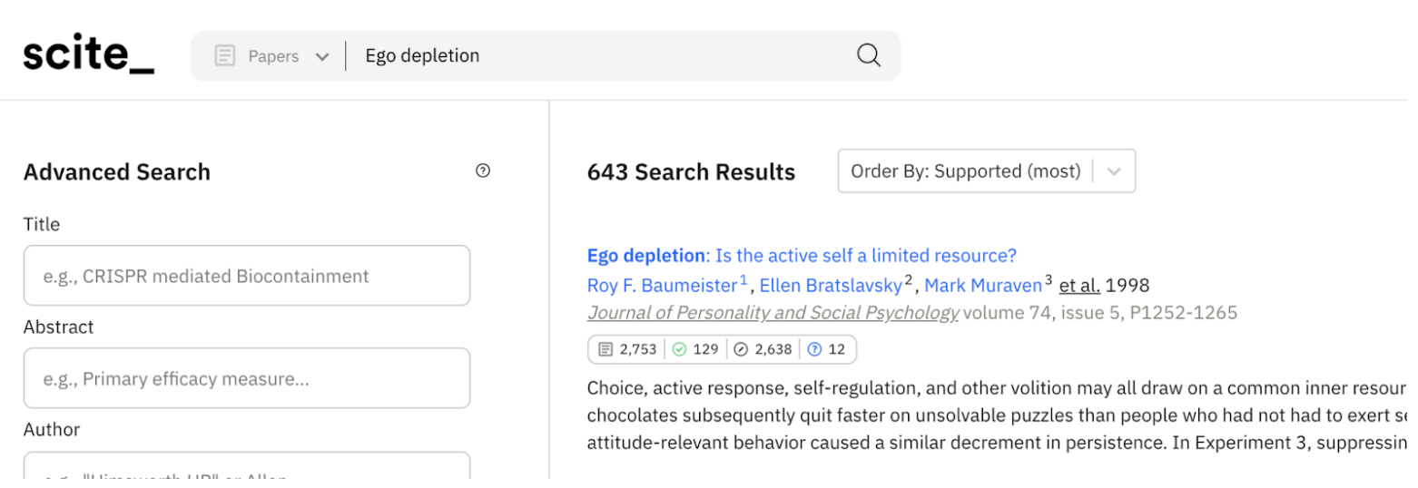 Example of a search for Ego Depletion papers