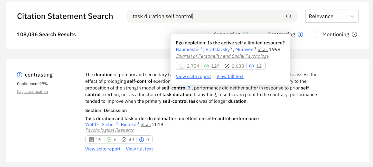 Example of a search for task duration and self control in citation statements