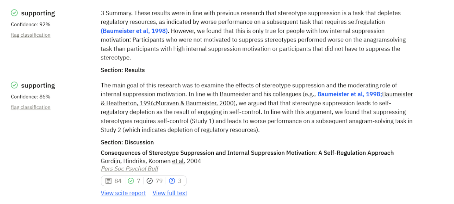 Example of supporting evidence