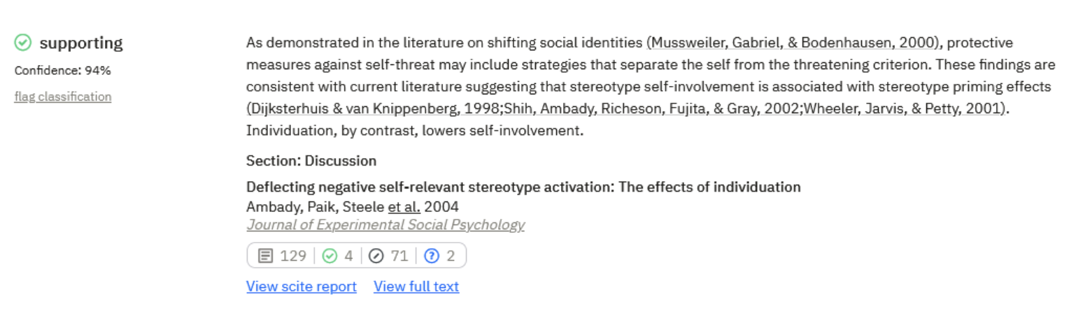 Example of a supporting citation