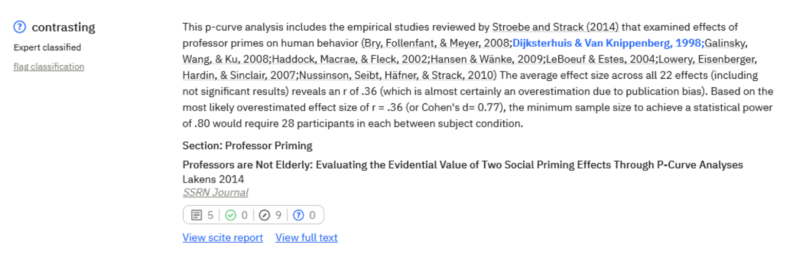 Example of a contrasting citation