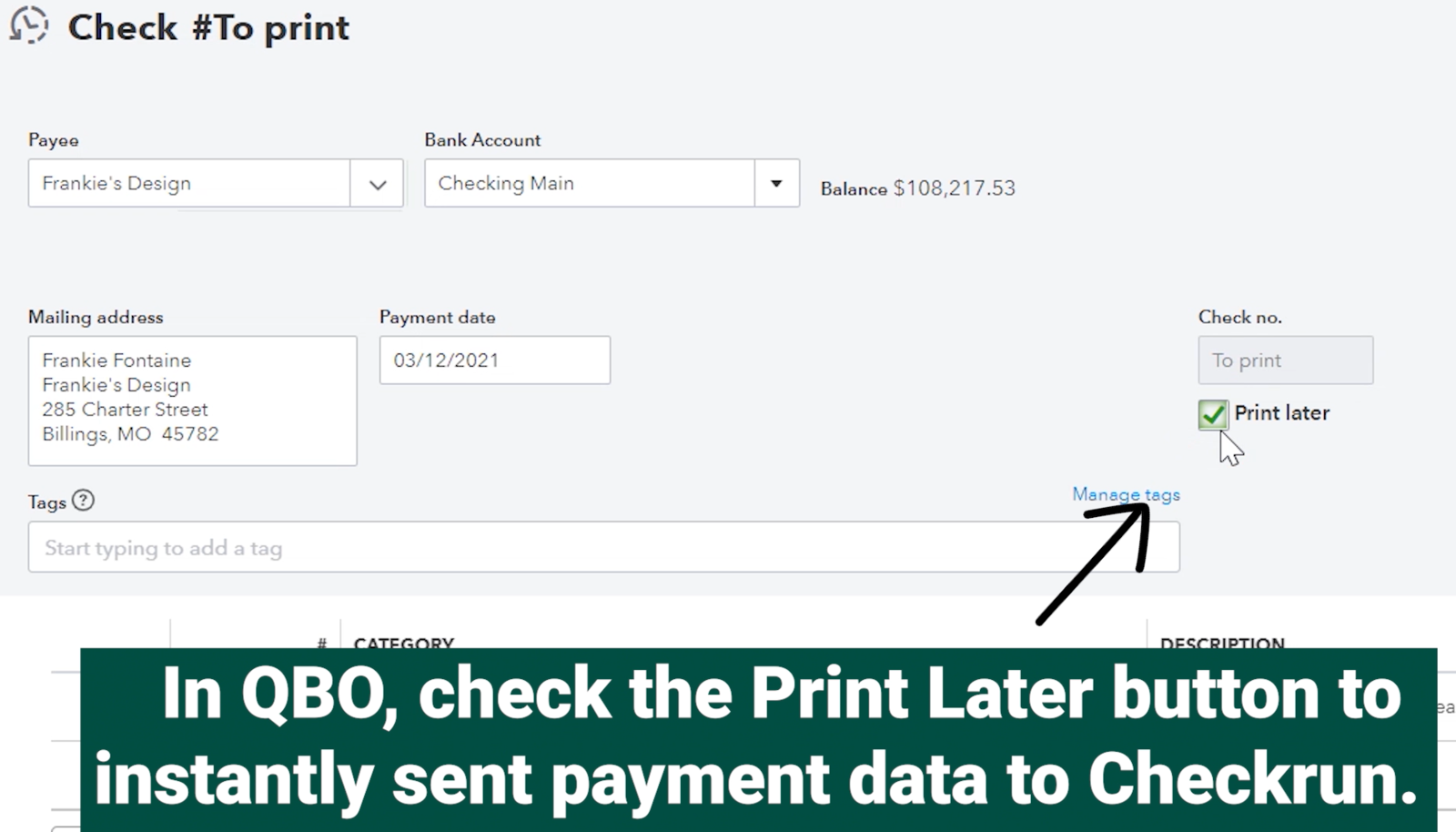 Print Later sends payment data to Checkrun