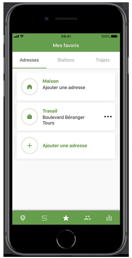 Adresses sauvegardées sur l'application Geovelo