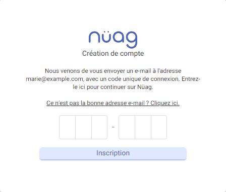 Capture d'écran de l'étape de confirmation de l'adresse e-mail