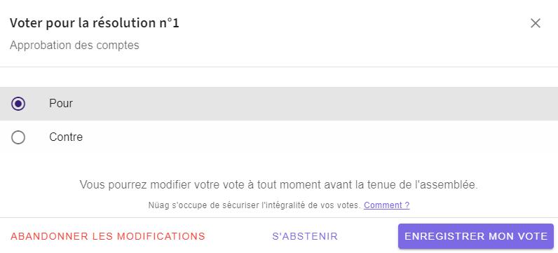 Capture d'écran d'un vote simple