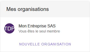 Cliquer sur une organisation