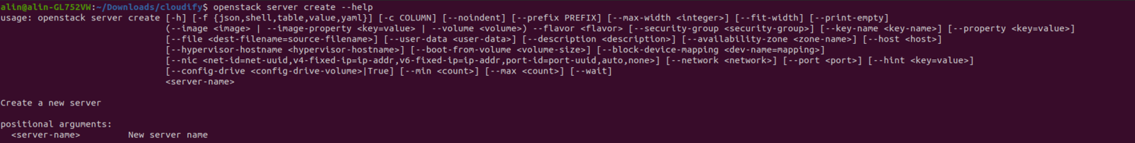 openstack server create