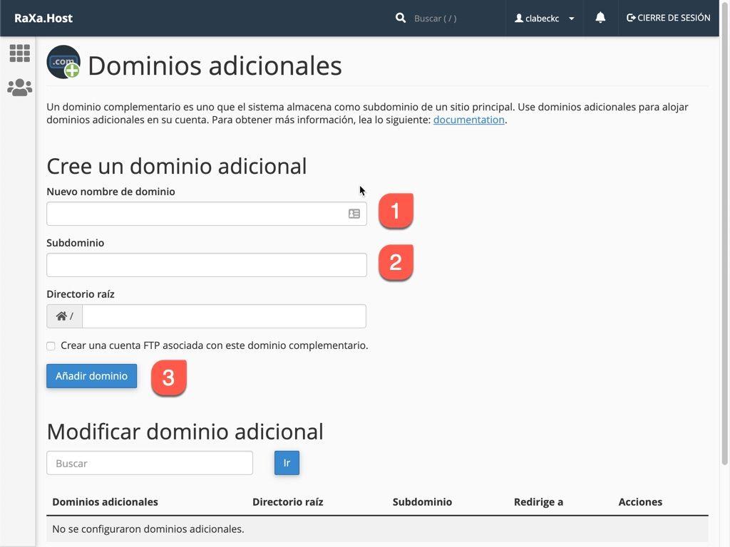 Configurar un dominio adicional