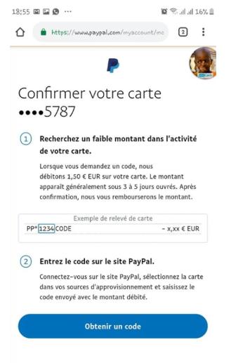Demande de confirmation dans votre compte Paypal
